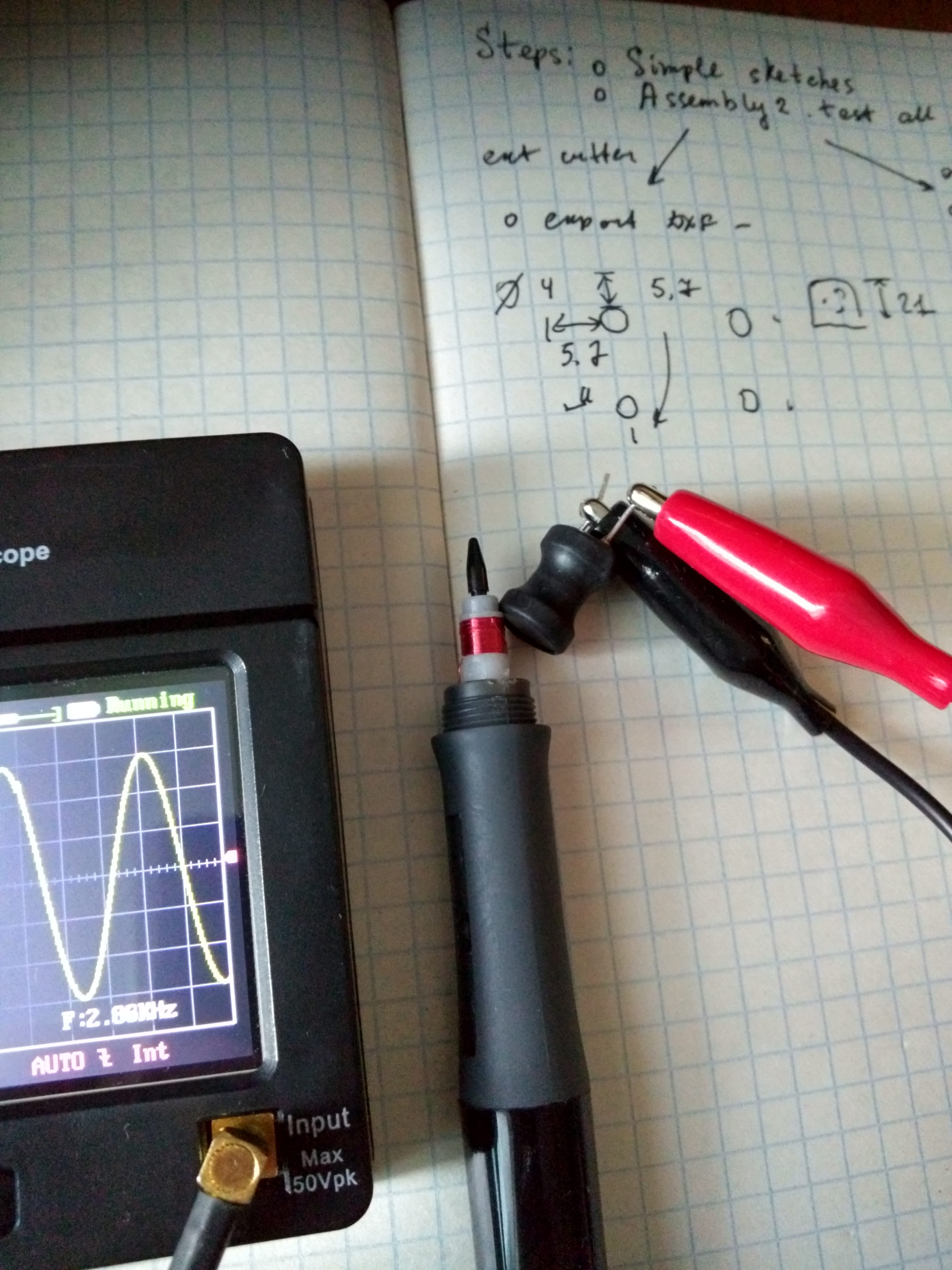 Measurement of the radiation frequency of a working pen
