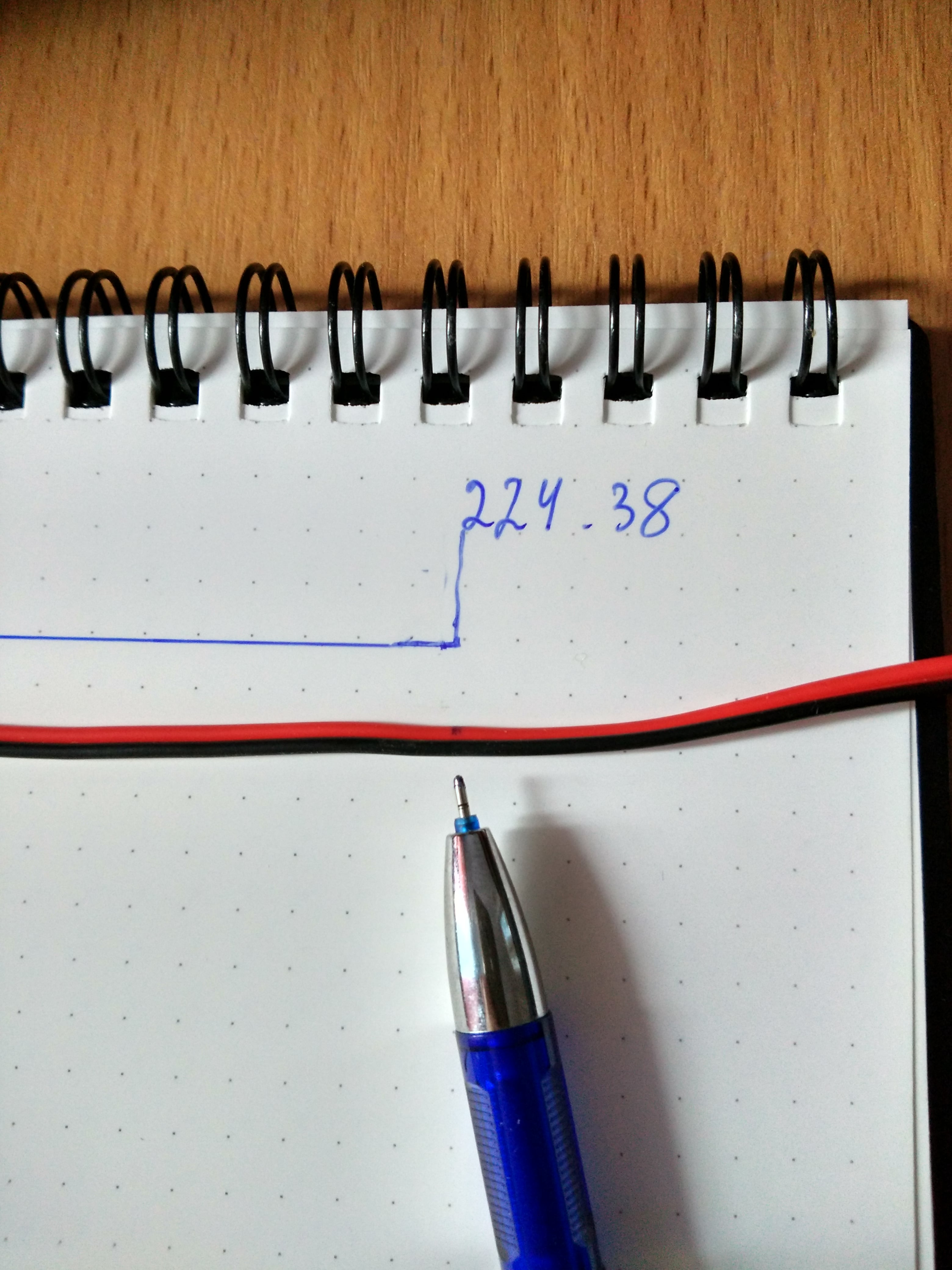 22AWG next to segment in notebook